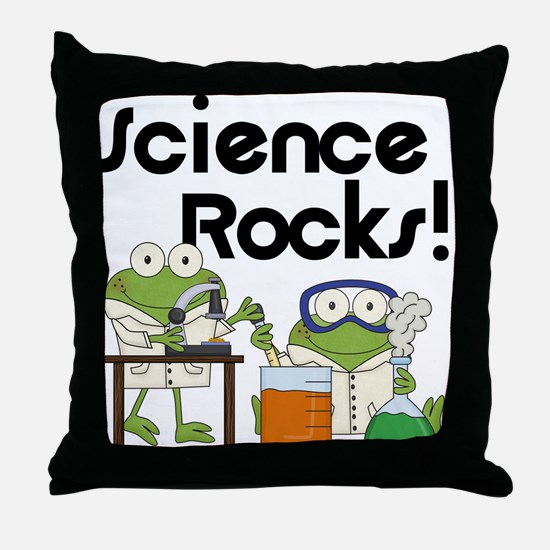 Frogs Science Rocks Throw Pillow