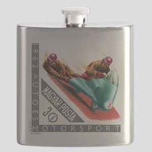 1962 Hungary Motorcycle Sidecar Racing Stamp Flask