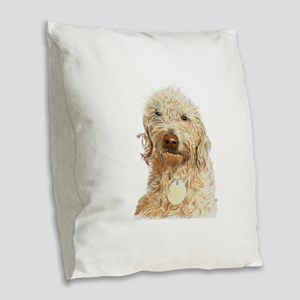 Labradoodle Ginger Burlap Throw Pillow