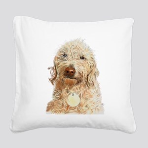 Labradoodle Ginger Square Canvas Pillow