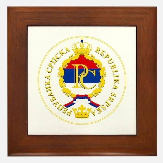 Srpska Flag Framed Tile