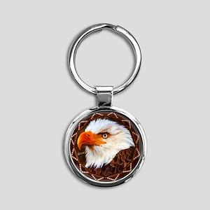 Geometric Bald Eagle Round Keychain