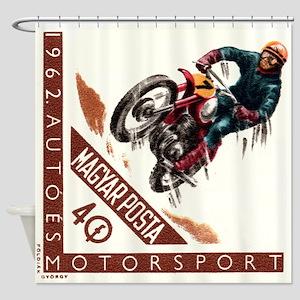 1962 Hungary Motocross Racing Postage Stamp Shower