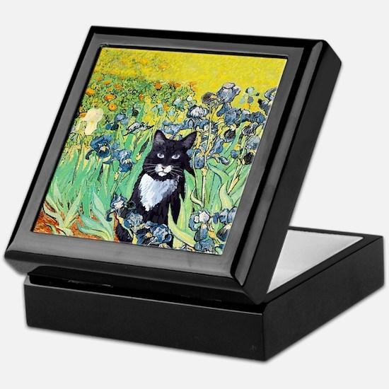 Irises & Cat Keepsake Box