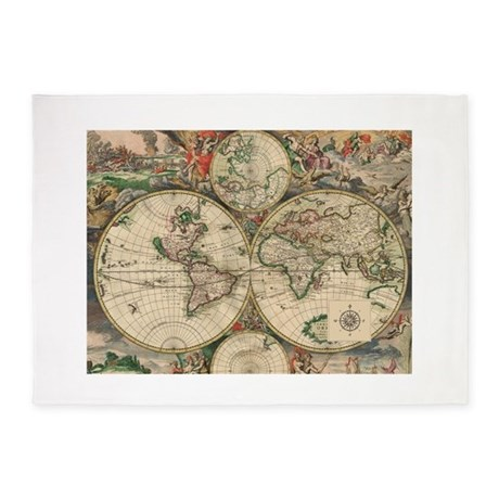 Antique Old World Map 5 X7 Area Rug