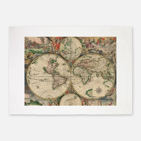 Antique Old World Map 5'x7'Area Rug