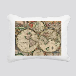Antique Old World Map Rectangular Canvas Pillow