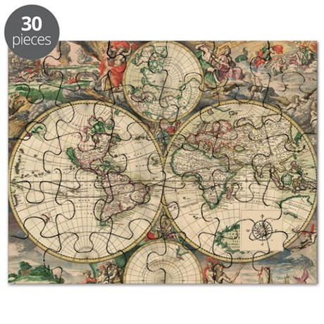 Antique World Map Puzzle.Antique Old World Map Puzzle By Noteablehomegoods