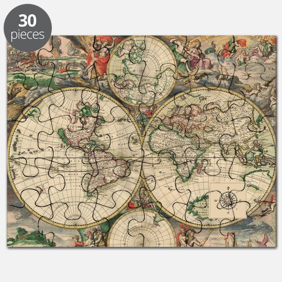 Globe puzzles globe jigsaw puzzle templates puzzles online cafepress antique old world map puzzle gumiabroncs Images