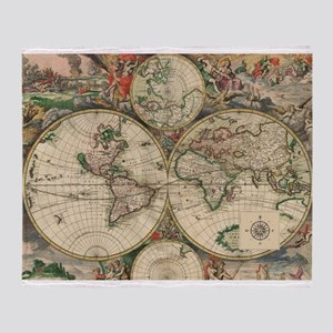 World map blankets cafepress antique old world map throw blanket gumiabroncs