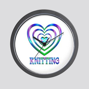 Knitting Hearts Wall Clock