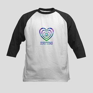 Knitting Hearts Kids Baseball Tee