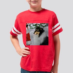 tri collie christmas square Youth Football Shirt