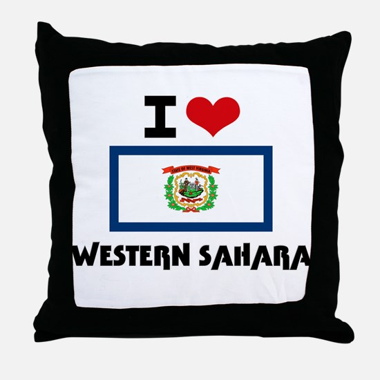 I HEART WESTERN SAHARA FLAG Throw Pillow