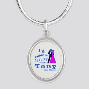 Dancing With Tony Silver Oval Necklace