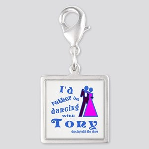Dancing With Tony Silver Square Charm