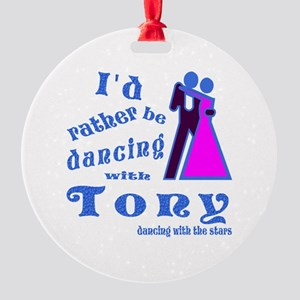 Dancing With Tony Round Ornament