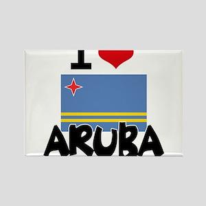 I HEART ARUBA FLAG Rectangle Magnet
