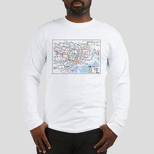 Tokyo Metro Map Long Sleeve T-Shirt (white, grey)