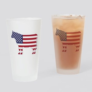 US Flag Cow Icon Drinking Glass