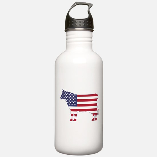 US Flag Cow Icon Water Bottle