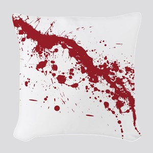 Red Blood Splatter Woven Throw Pillow