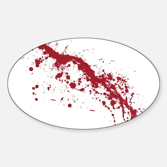 Red Blood Splatter Sticker (Oval)