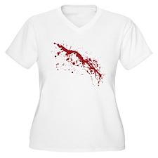 Red Blood Splatter Women's Plus Size V-Neck T-Shir