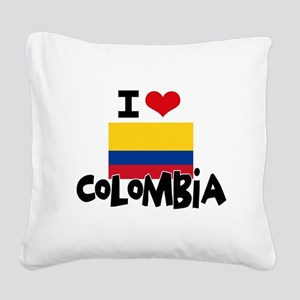 I HEART COLOMBIA FLAG Square Canvas Pillow