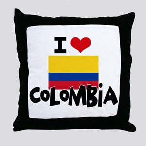 I HEART COLOMBIA FLAG Throw Pillow