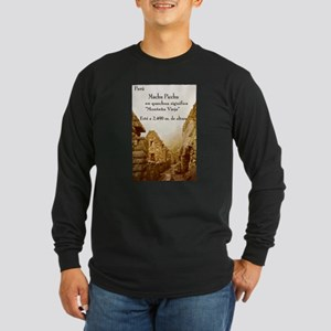 Long Sleeve Dark T-Shirt texto de Machu Picchu