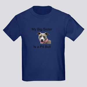 Pit Bull Big Sister Kids Dark T-Shirt