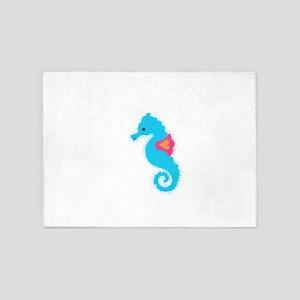 Newsprint Seahorse 5'x7'Area Rug
