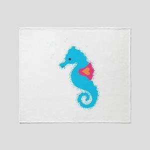 Newsprint Seahorse Throw Blanket