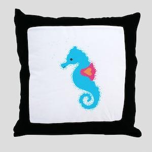 Newsprint Seahorse Throw Pillow