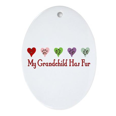 Furry Grandchild Oval Ornament
