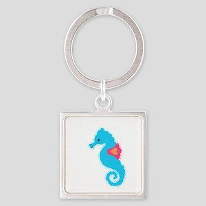 Newsprint Seahorse Keychains