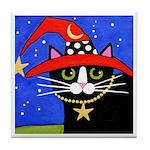Black Tuxedo Witch CAT Red Hat ART Tile
