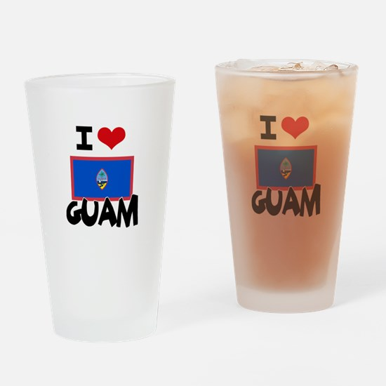 I HEART GUAM FLAG Drinking Glass