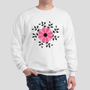 Pink and Black Daisy Flower Sweatshirt