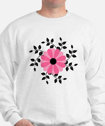 Pink and Black Daisy Flower Sweater