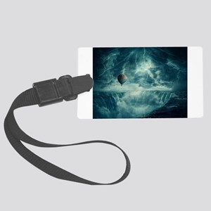 Storm over waterfall Large Luggage Tag