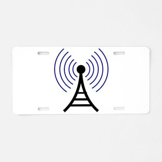 Radio Tower Signal Aluminum License Plate