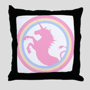 Retro Pink Unicorn Throw Pillow