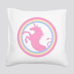 Retro Pink Unicorn Square Canvas Pillow
