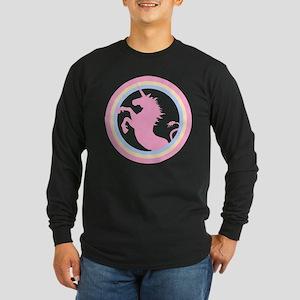 Retro Pink Unicorn Long Sleeve Dark T-Shirt