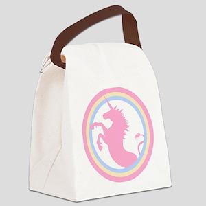 Retro Pink Unicorn Canvas Lunch Bag