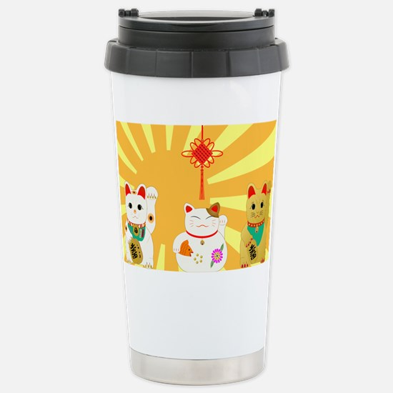 Lucky Cats Stainless Steel Travel Mug
