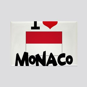 I HEART MONACO FLAG Rectangle Magnet