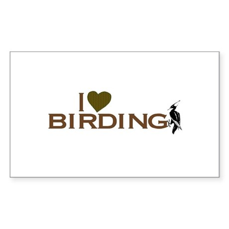 I Love Birding Rectangle Sticker